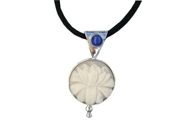 Tagua Lotus and Lapis Pendant (Medium)