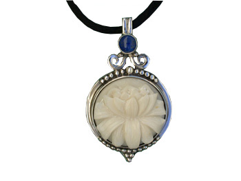 Pendant with Tagua Lotus and Lapis (Large Size)