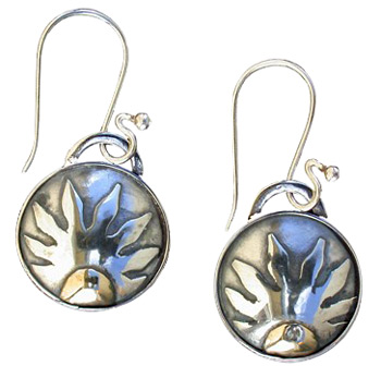 Sun Earrings with a Touch of Brass