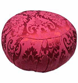 Round Silk Jacquard Zafu Meditation Cushion – Red