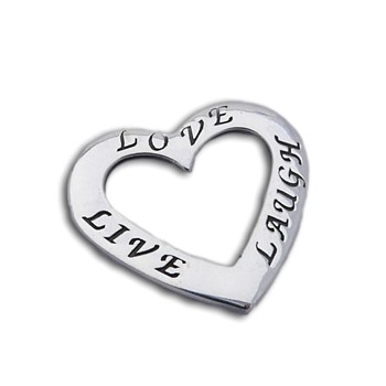 Live Love Laugh Heart Pendant Silver