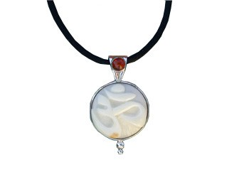 Tagua Nut OM and Amber Pendant