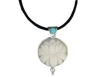 Tagua Lotus and Turquoise Pendant (Large)